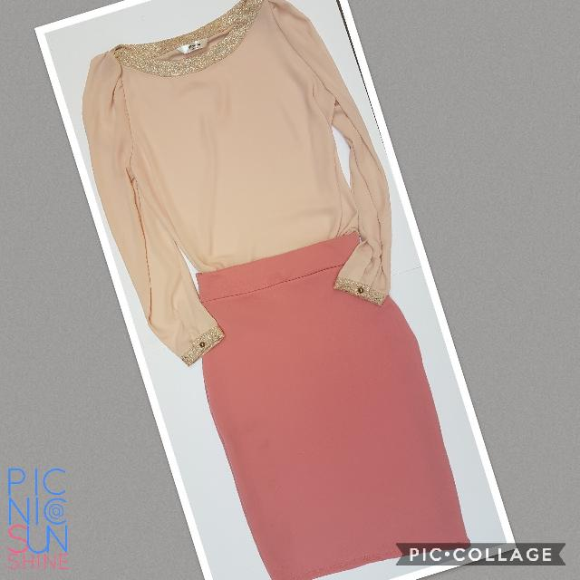 Get this corporate look for only Php 650! 😁  Top - Blush office top. Bought in Korea, never used. Fits small to medium. Php 400. Bottom - Pink pencil skirt. Small to medium. Php 250.