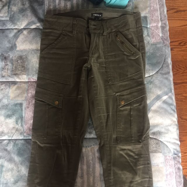 Green Army Style Skinny Jeans