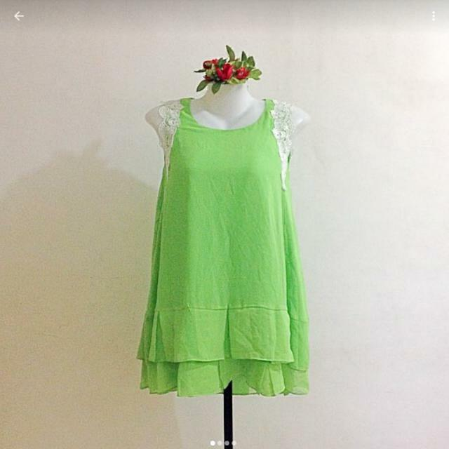 Green Chiffon Long Blouse