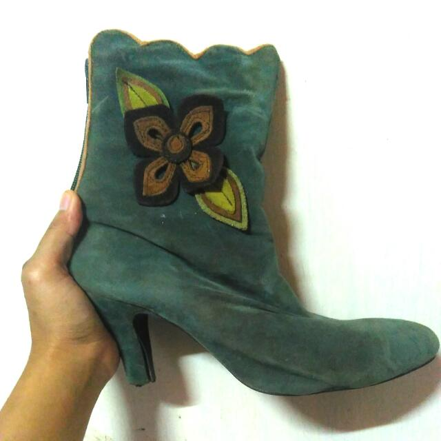 Green Flower Ankle Heels Boots,38-39