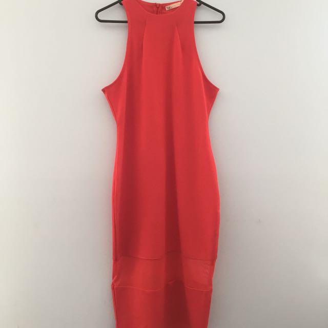 High Neck Coral Bodycon Dress Size 12