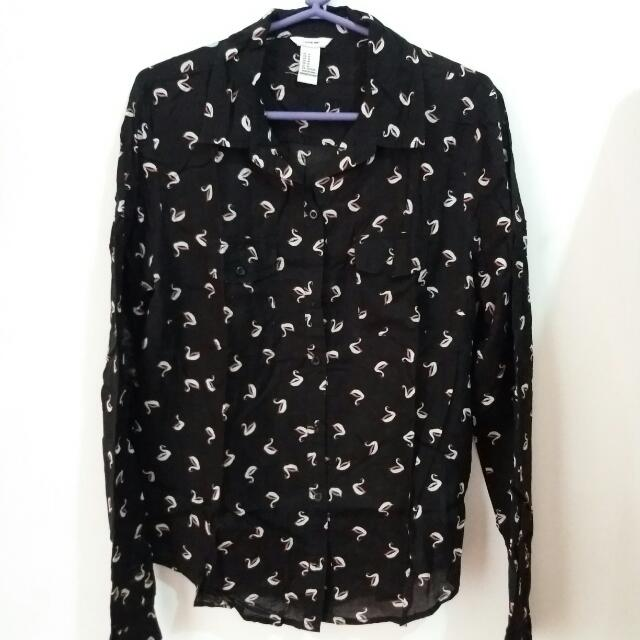Repriced!!! I LOVE H81 Longsleeved Swan Blouse