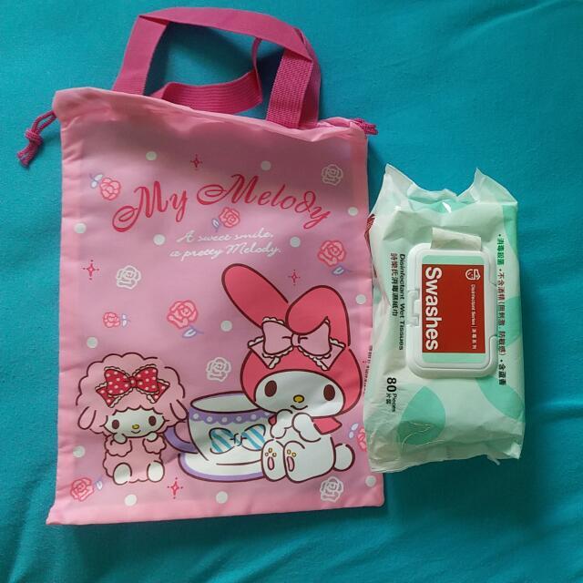 尼龍kitty,melody  索繩袋