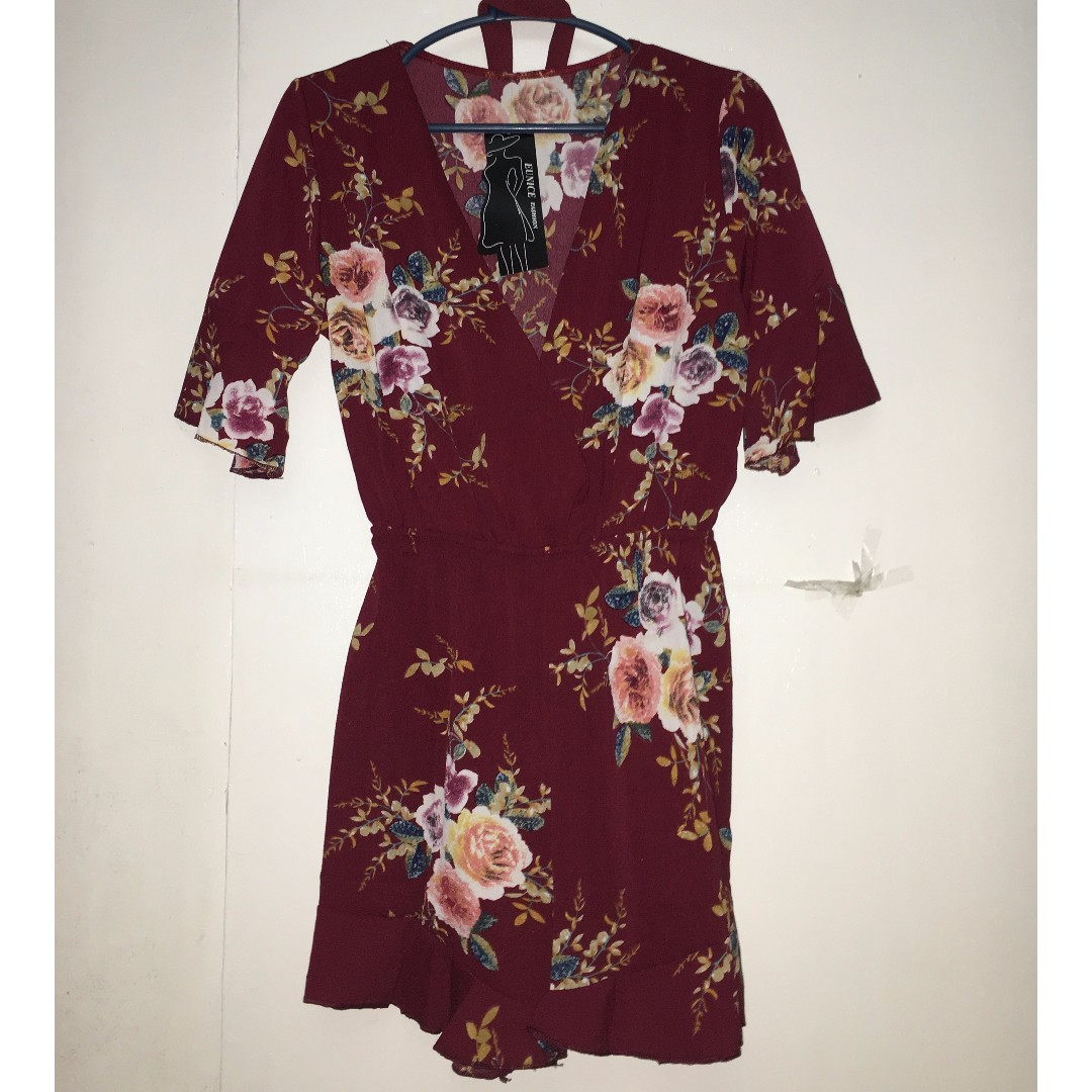 Maroon Floral Romper with Ruffles