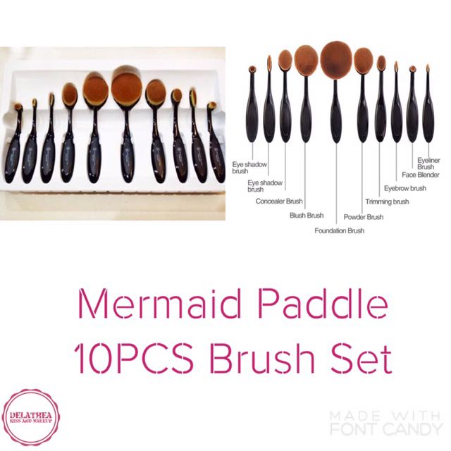 Mermaid Paddle 10PCS Brush Set