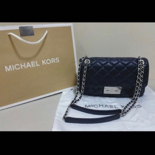 4c62ef94e7aaa7 MICHAEL KORS Sloan Large Quilted-Leather Shoulder Bag (Navy), Luxury ...