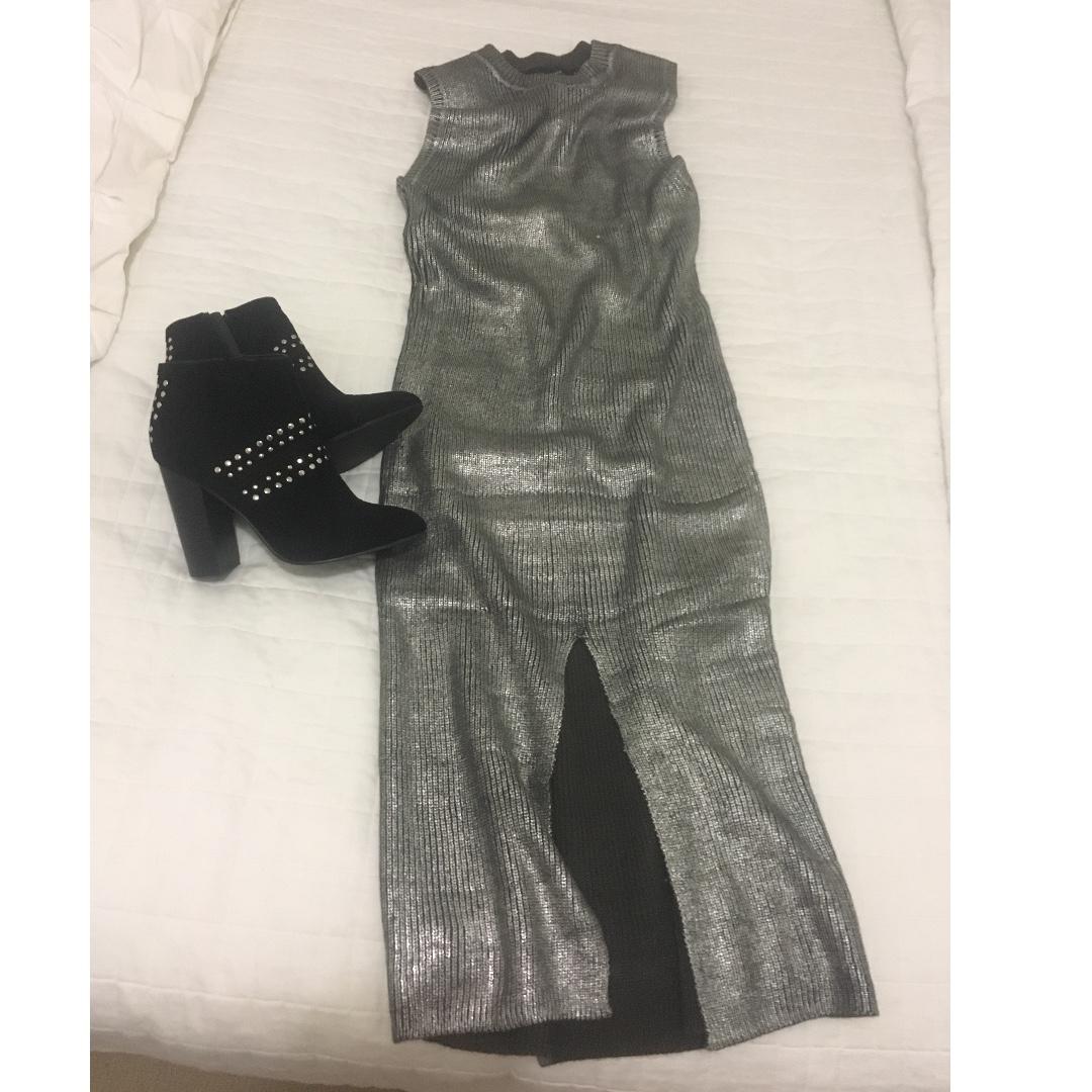 minkpink metallic midi knit dress $25 s-m