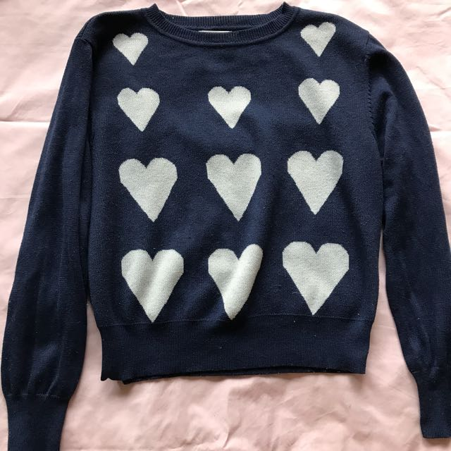Navy&White Heart Sweater - 14