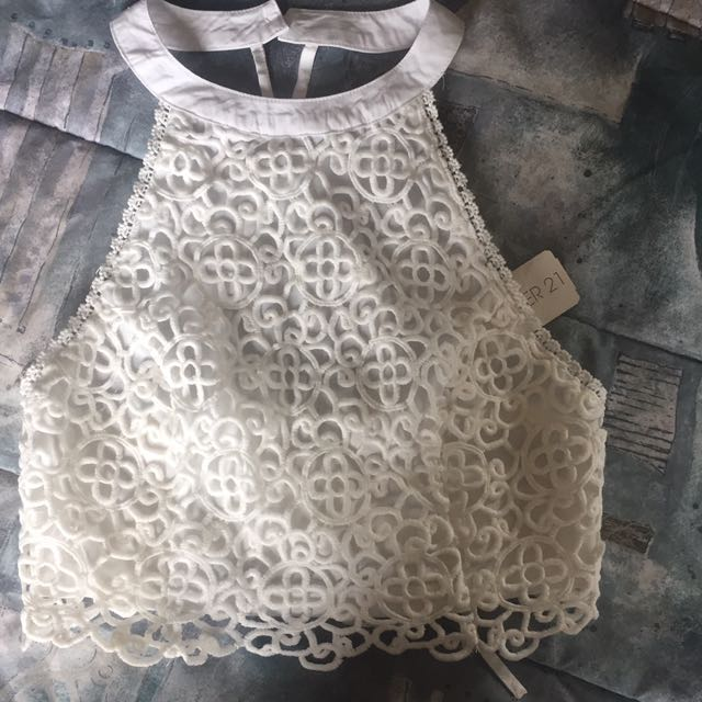Never Worn Forever 21 White Crocheted Summer Top