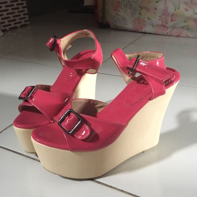 <NEW HANDMADE SHOES> PINK WEDGES