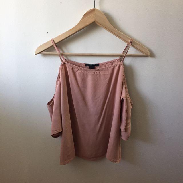 open shoulder pink top