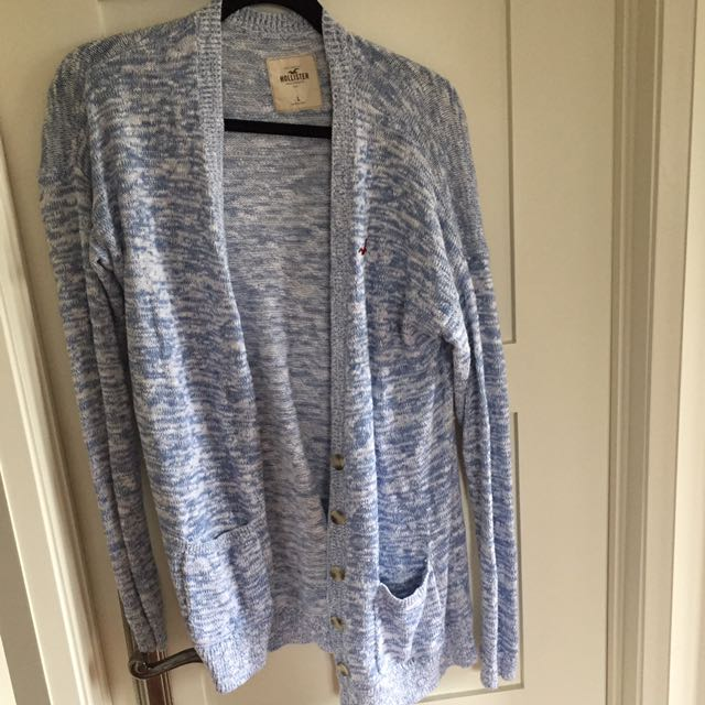 Oversized Blue/ White Salt And Pepper Wool Cardigan