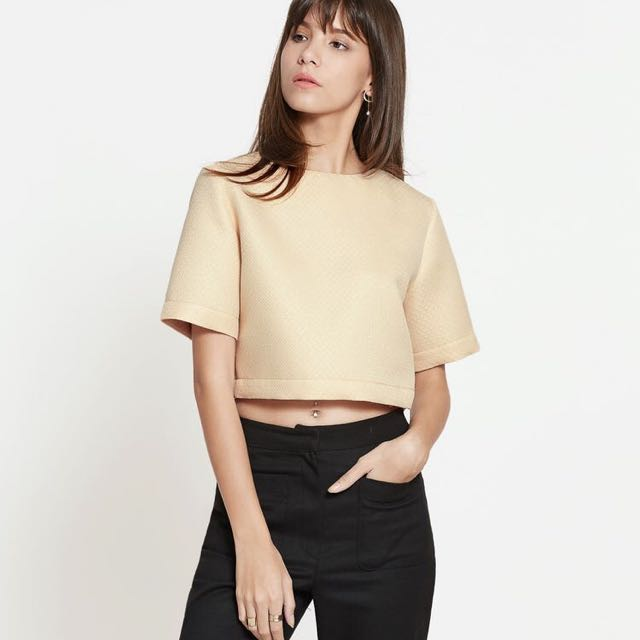 Pomelo Veva Crop Top (Beige)