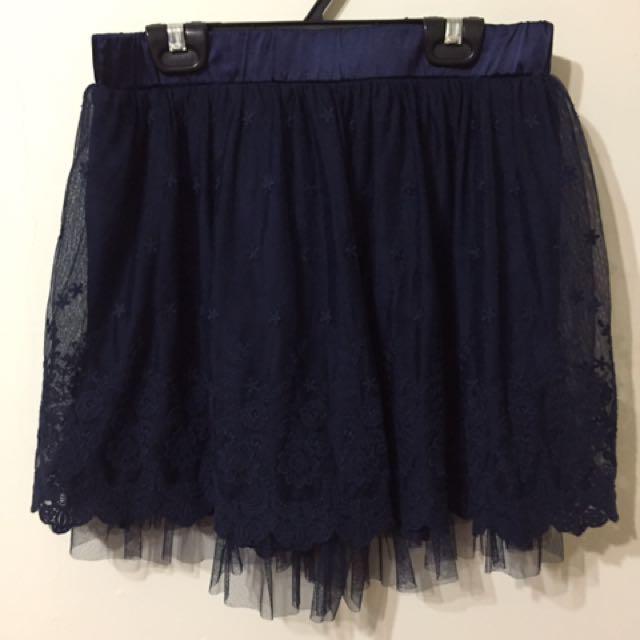 專櫃POONE 紗裙 藍色