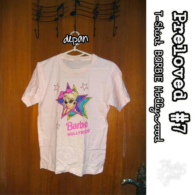 Preloved #7 @OmahPiyique - T-Shirt ORIGINAL BARBIE Hollywood Sablon Kacamata Bintang Baby Pink #WardrobeSale
