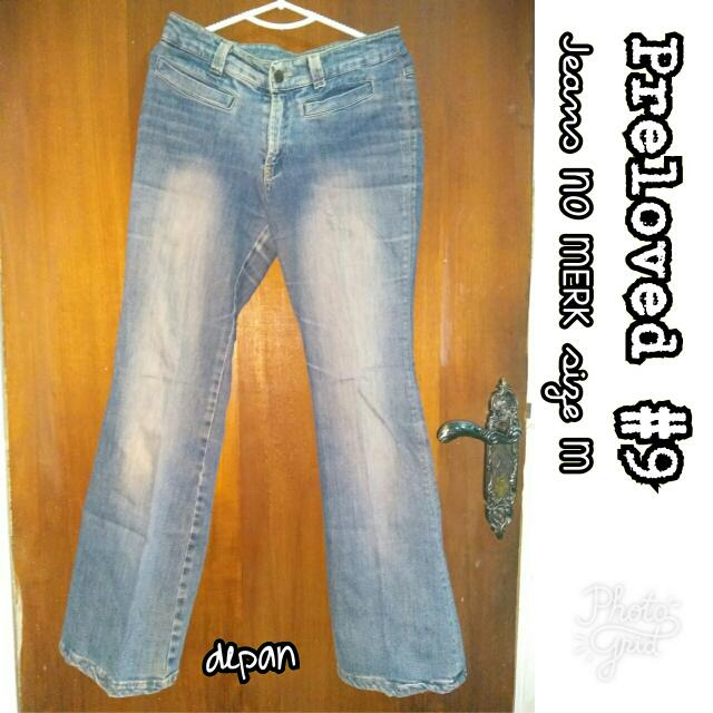 Preloved #9 @OmahPiyique - Celana Panjang Jeans NO MERK ukuran M WashOut Color Blue Peach #WardrobeSale #Owners Favorite