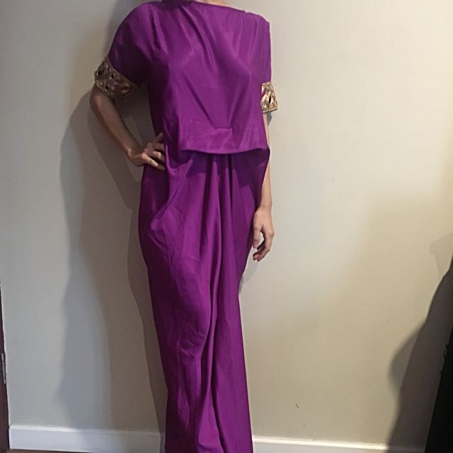 Purple KAFTAN With Gold Arm Details.