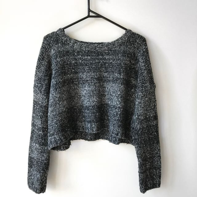 Quirky Circus Grey Knit, Crop Jumper, Size 14