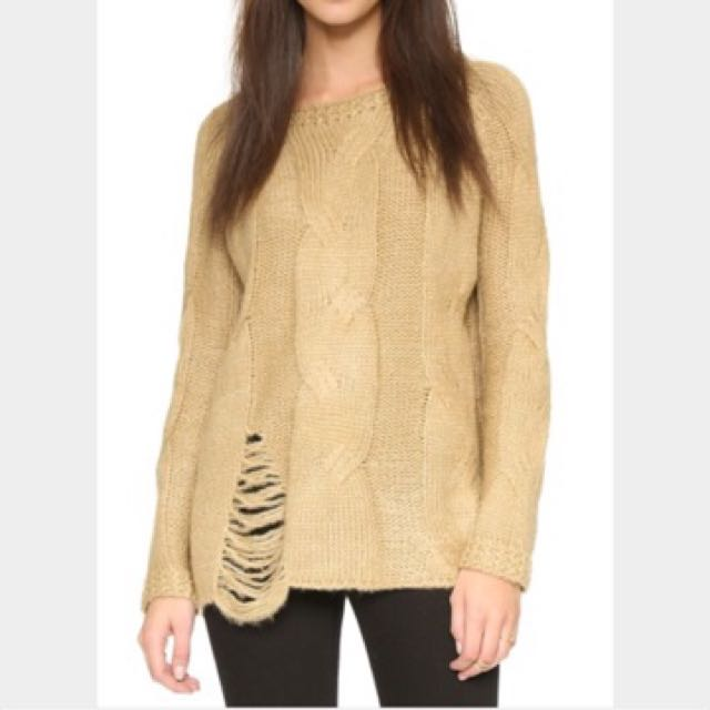 RRP USD90 SHOPBOP JOA Distressed Oversized Pullover Sweater Sweatshirt Jumper Knit Size S
