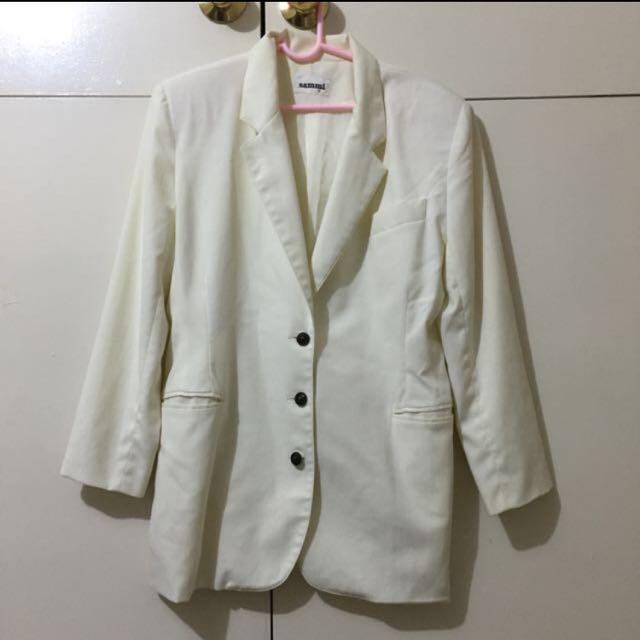 Sammi White/Cream Blazer & Skirt Set
