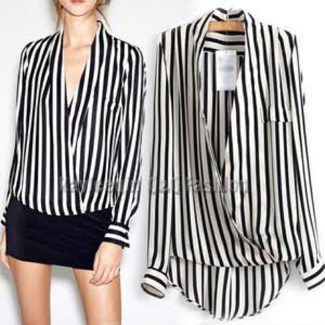 Striped Wrap Blouse