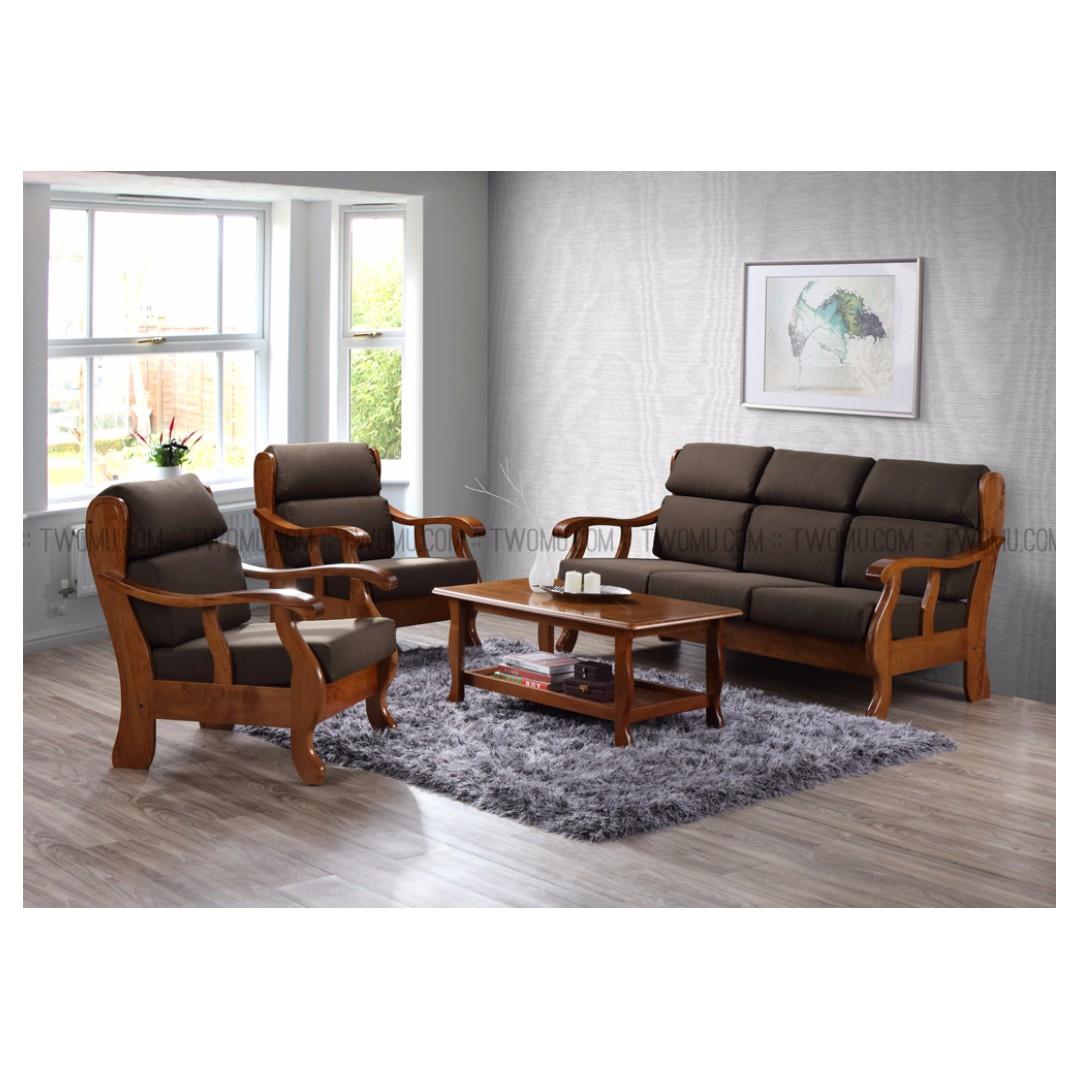 Super Sale Mujo Solid Wood Sofa Sets With Cushions 3 1 1 Coffee Table Rubberwood Malaysian Oak