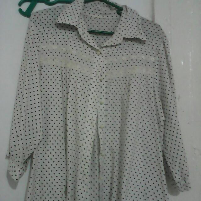 White polka blouse