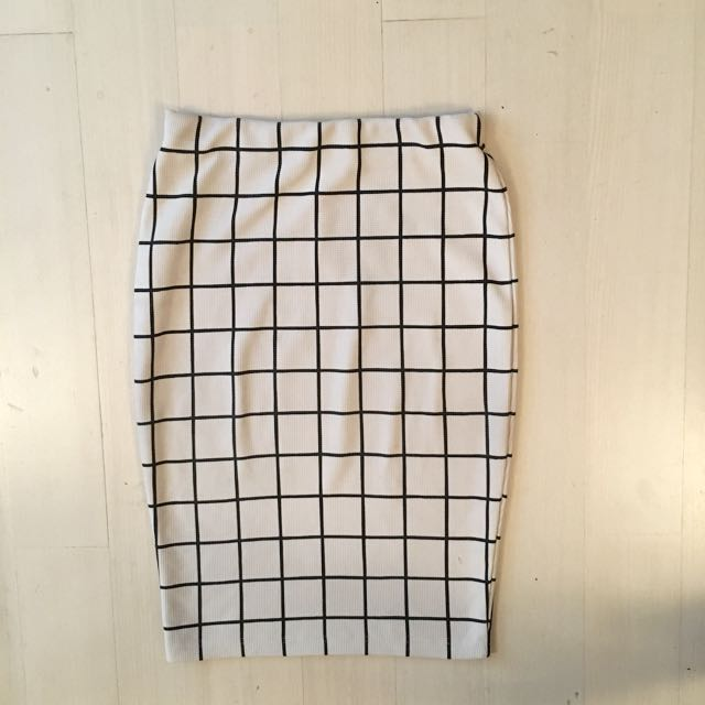 White Tile Check Work Skirt