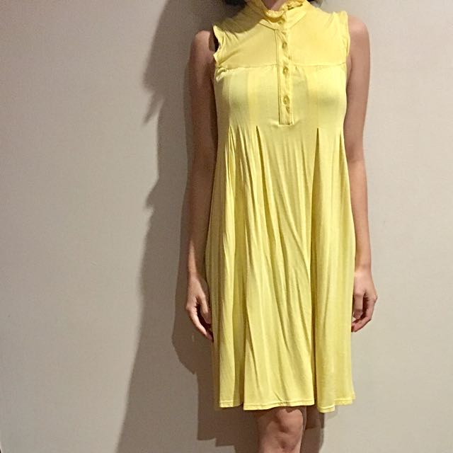 Yellow Ruffles Midi Dress