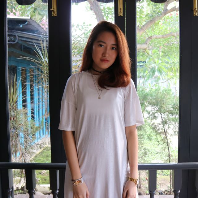 Zara Trafaluc White T-shirt Dress