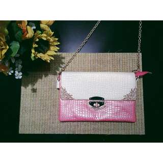 Pink Leather Sling Bag