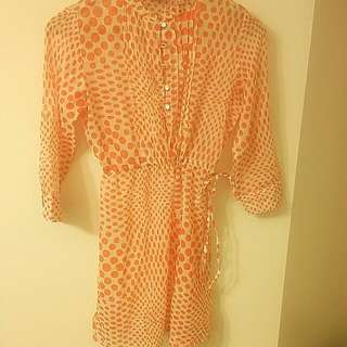 Orange and white Summer dress