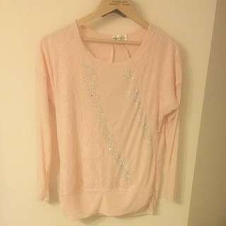 Baby Pink top with net Sleeves
