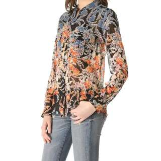 BCBG Anderson 100% Silk Floral Print Blouse in Small