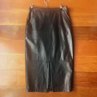 Sports Girl Mid-length Leather Skirt