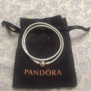 Pandora Moment Woven Leather Bracelet-Light Blue