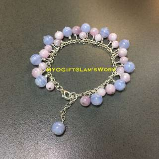 Handmade Bracelet With Natural Kunzite And Purple Agate