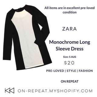 Zara Monochrome Long Sleeve Dress