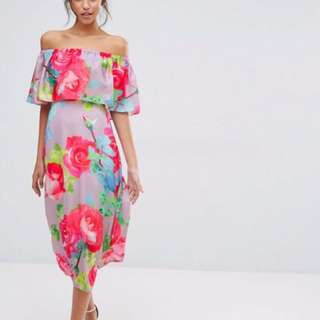 Brand New Every Cloud Rose Print Off Shoulder Frill Midi Dress Size 10
