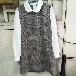 Checkered Korean-style dress