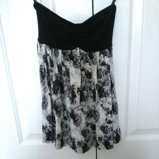 Strapless Black And White Supre Top