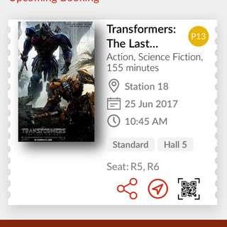 Transformers The Last Knight TGV Twin Seat Ticket