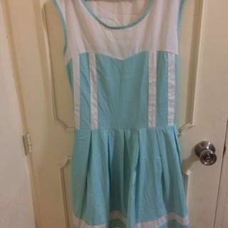 Jellybean Blue and White Dress
