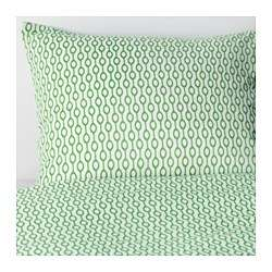 Quilt Cover and 4 Pillow cases white green