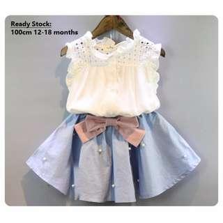 (Ready Stock) Baby Clothing Girls Clothing Dress Skirt Toddler Kids Sleeveless Ribbon 1-6 Year