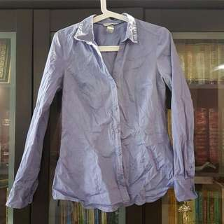 H&M Metallic Blue Shirt