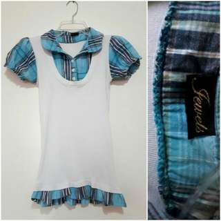 Jewels Blue Checkerd Polo With White