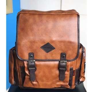 LEFTFIELD Leatherette Backpack (Copper Brown)