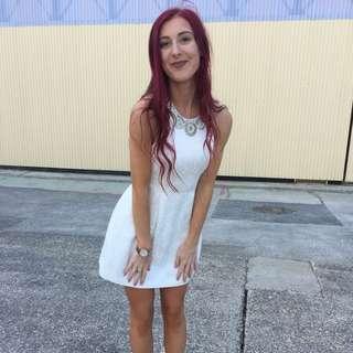 Forever New Embossed White Mini Dress w Beading