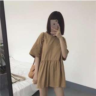 現貨/古著短袖黃色棉質洋裝
